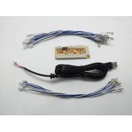 ZERO DELAY INTERFACE Y 5V USB UN PLAYER 1 CON CABLES DE JOY FASTONS 2,8MM